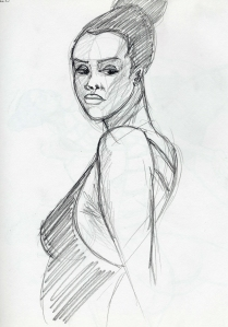 Sketch of model Taneisha Shaw, five minute poses, first round.