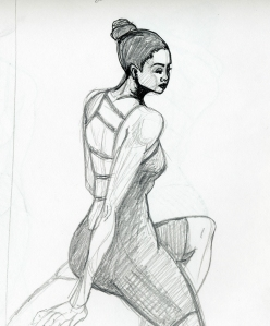 Sketch of model Taneisha Shaw, first round ten minute pose.