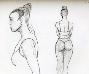 Sketches of model Taneisha Shaw, second round 2 ten minute poses.